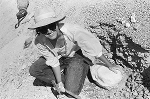 India with fossil turtle she excavated in 1985