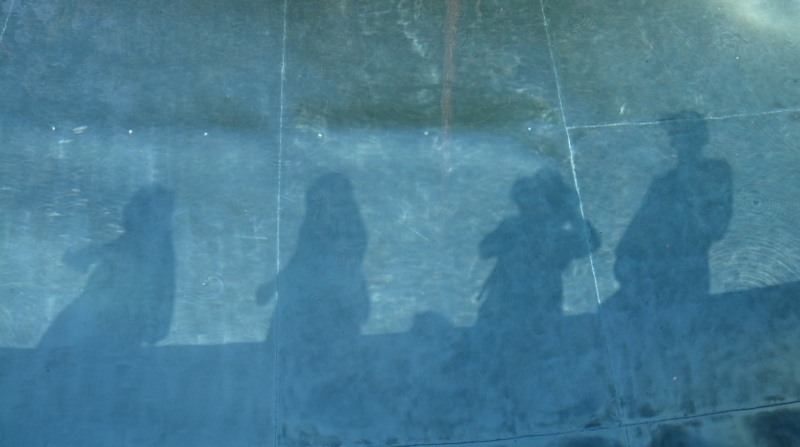 Shadows in a stainless steel pool, Not Vital sculpture garden, Sent