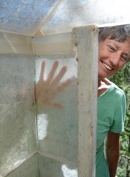 Glass hut, Not Vital sculpture garden in Sent