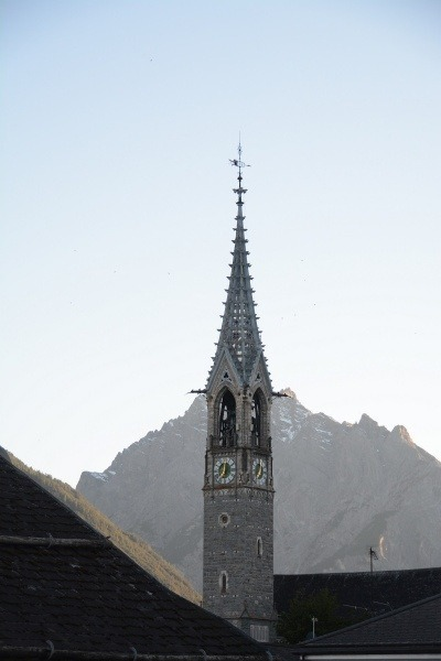 The church chimed every quarter hour in Sent, Switzerland