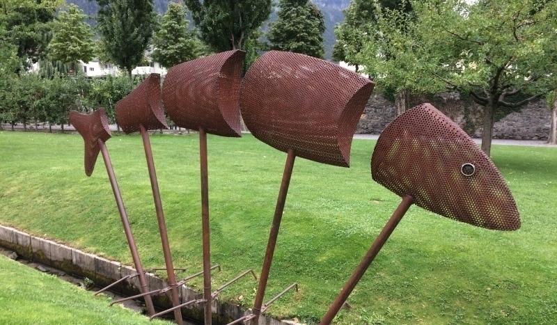 Sculpture on grounds of 1600s Stockalper Palace, Brig, Switzerland