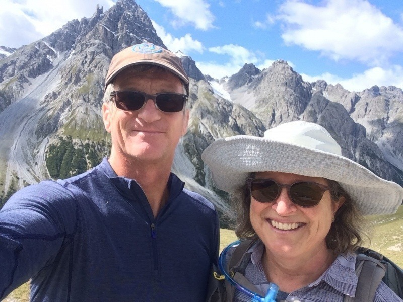 Paul and India hiking in Swiss Alps