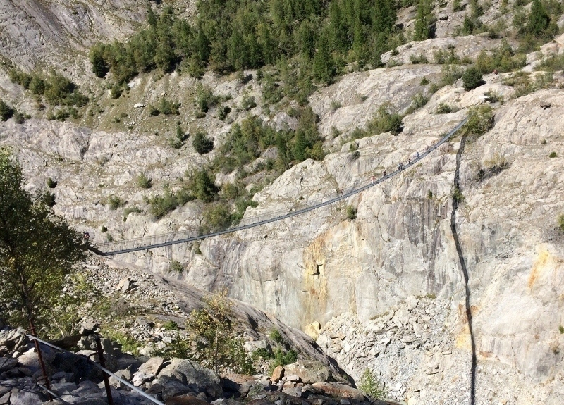 Aletsch Glacier trail, now over a bridge since glacier melted north