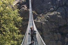Come with me! India on bridge where the Aletsch Glacier was in 1980