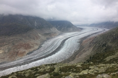 Aletsch Glacier, September 2019, with bathtub ring showing glacier shrinkage with global warming