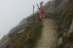 This scarecrow, intended to keep sheep away, startled me along the Aletsch Glacier trail
