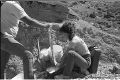 Jim and I making a plaster field cast for an allosaurus bone