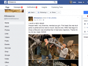 Denver Allosaurus page on Facebook